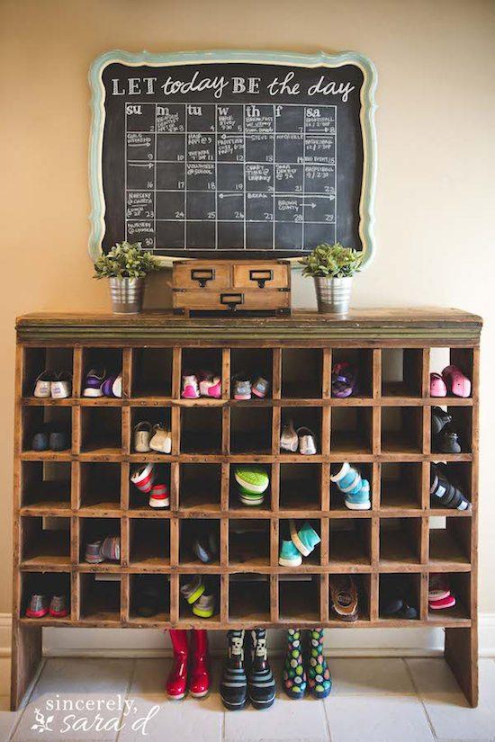Chalkboard Calendar & Shoe Cubby