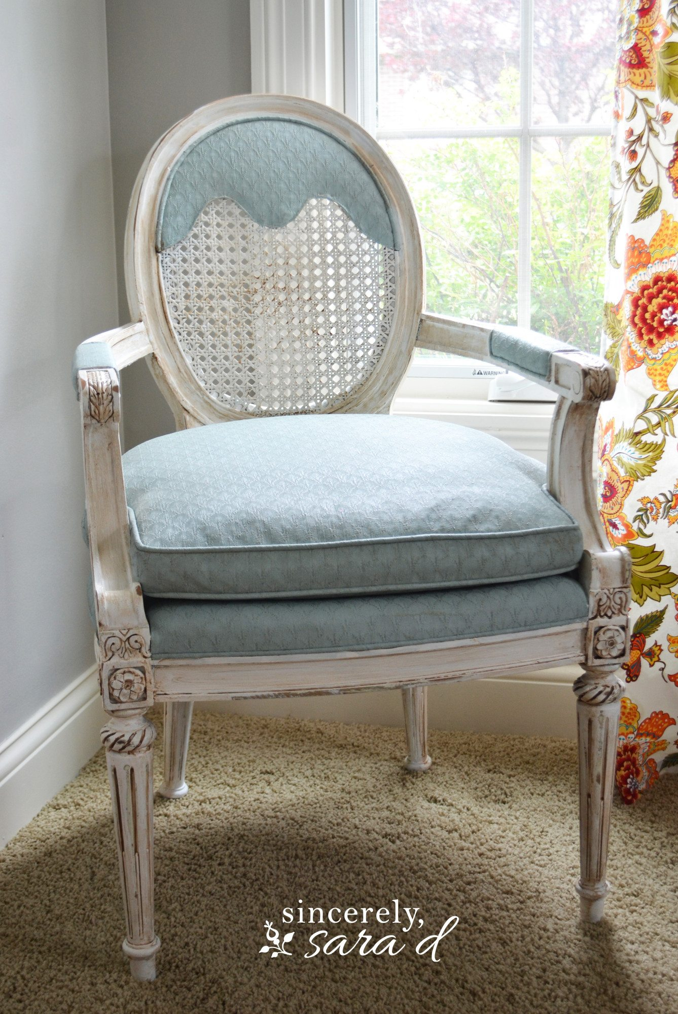 Painted Upholstered Chair Using Chalk Paint Sincerely