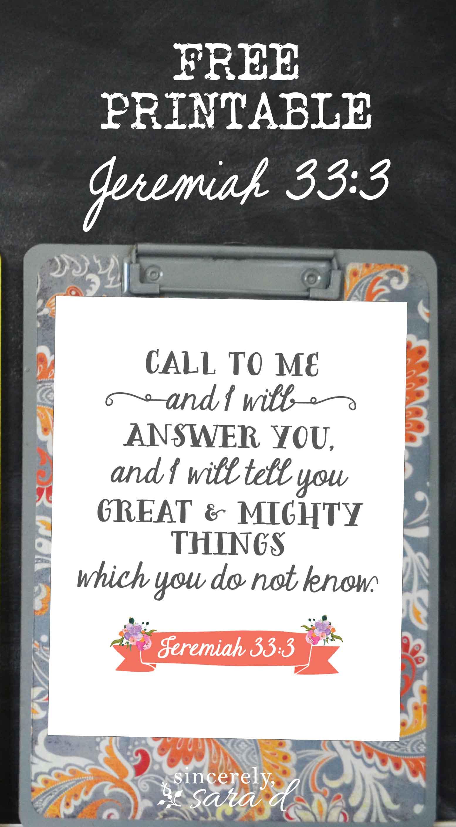 free printable Jeremiah 33:3