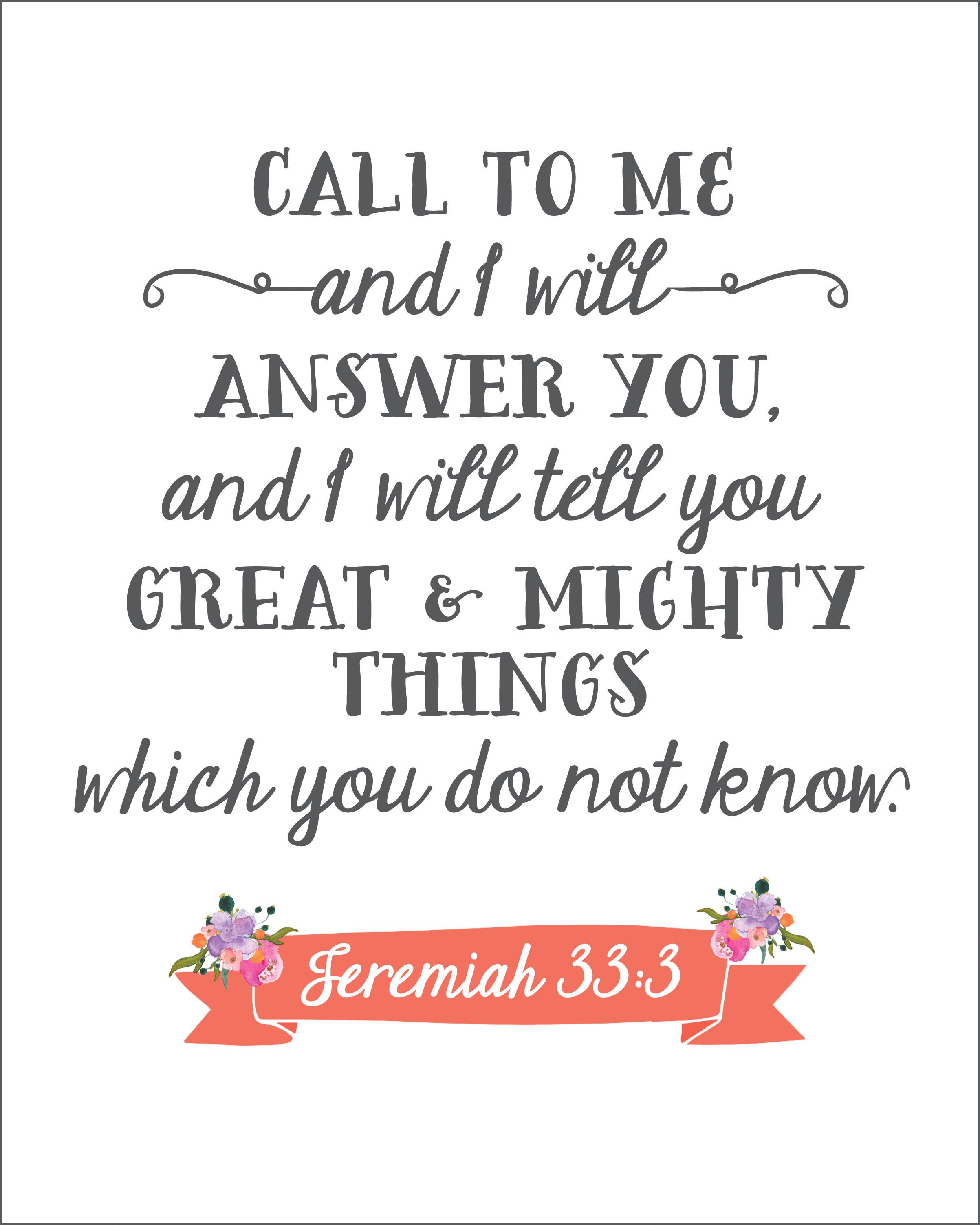 Free Printable Jeremiah 33 3 Sincerely Sara D