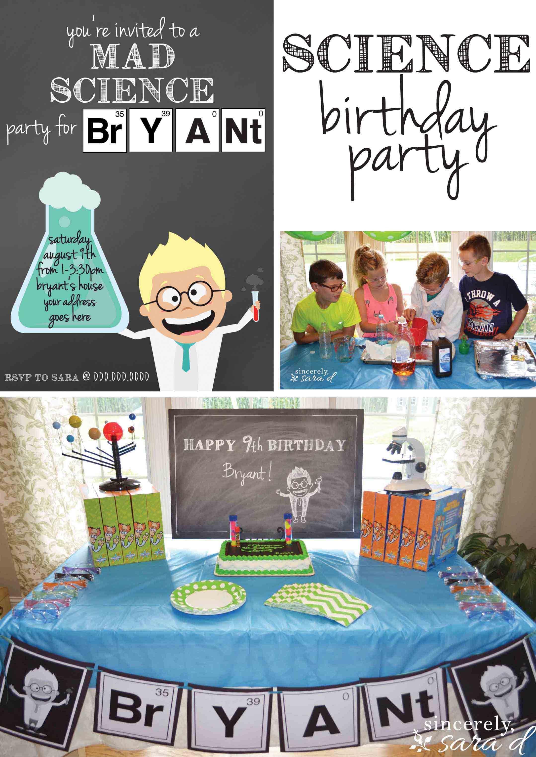 Science Themed Birthday Party – Mad Scientist Birthday Party Invitations