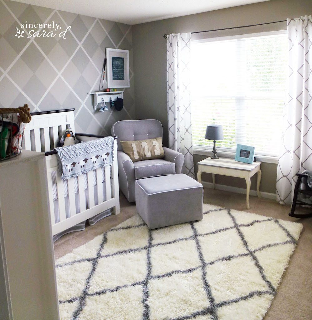 Natural Baby Nursery Design Reveal: Argyle Wall Nursery Reveal