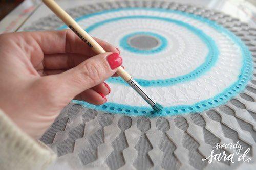 paint a pillow stencil brush