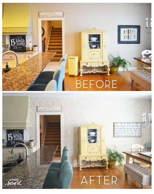 Stenciled Kitchen Before After