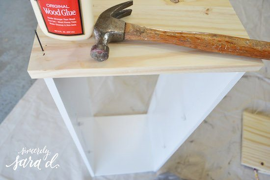 Adding the top to nightstand