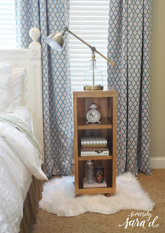 DIY Gold Bookshelf Nightstand
