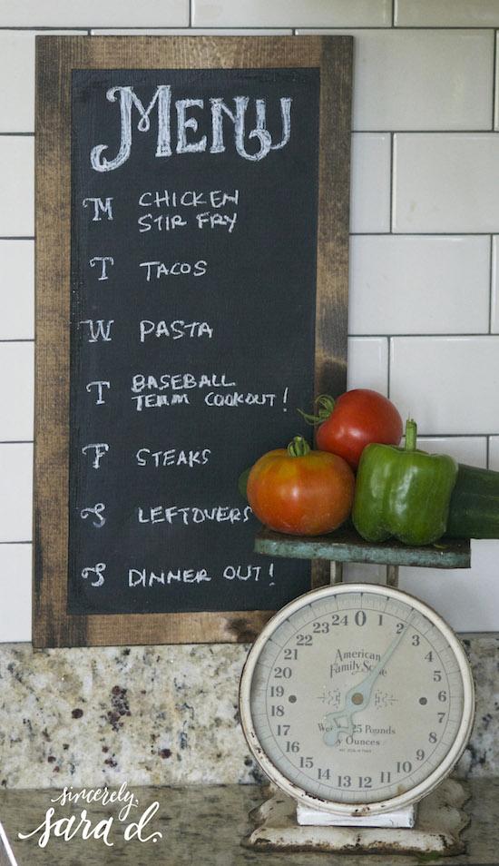 Chalkboard Dinner Planner