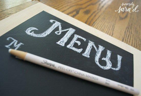 Making Chalkboard Menu