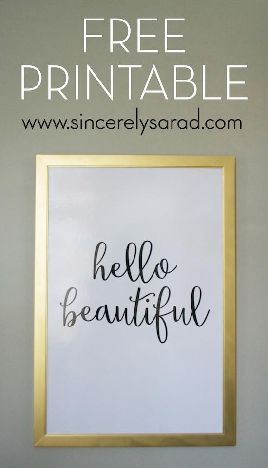 Free hello beautiful printable