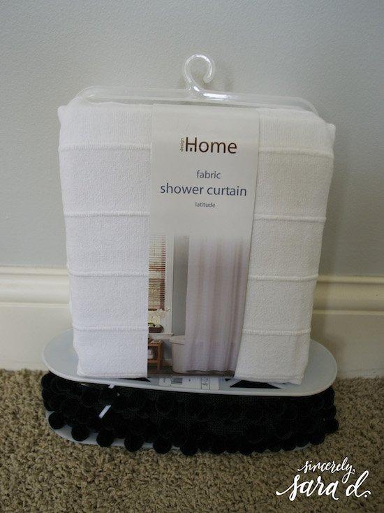 Shower Curtain And Pom Trim