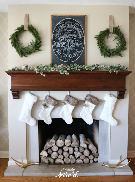 Christmas fireplace decor ideas sincerely sara d for How to decorate a fireplace for christmas