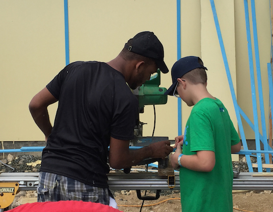Kids helping with the build