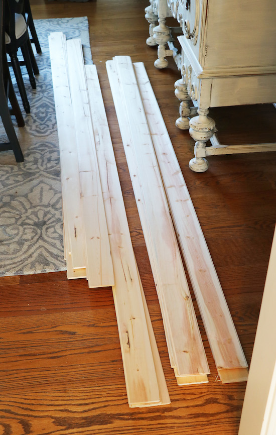 Sorting boards for shiplap wall