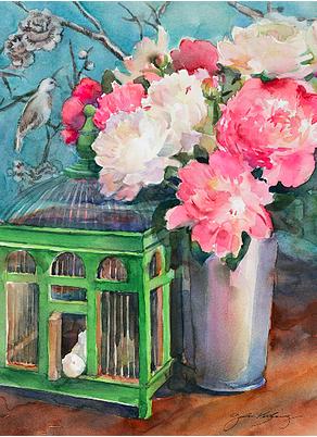 John Keeling Peonies with Birdcage