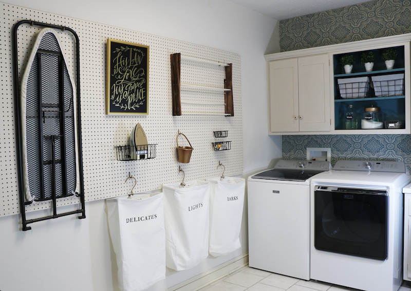 Using Peg Board in the Laundry Room | Sincerely, Sara D.