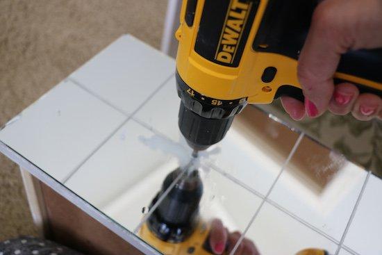Drilling through a mirror