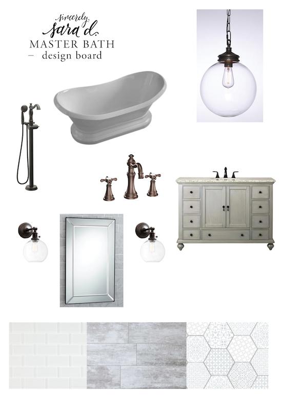 Master Bath Design Board - oil rubbed bronze