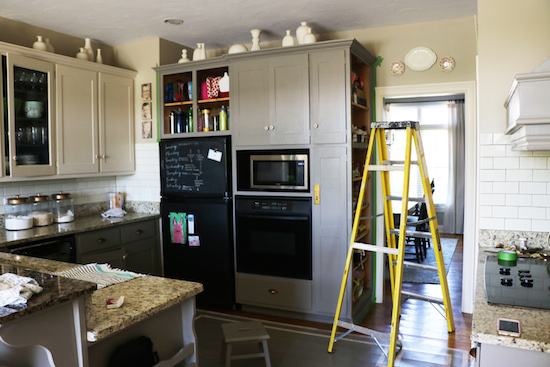 Painting cabinets in sections