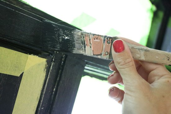 Painting Black Trim around Door (1 of 1)