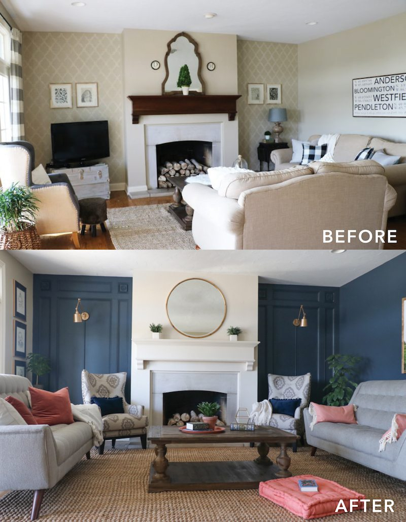 Living room makeover with the roomplace sincerely sara d Before and after interior design projects