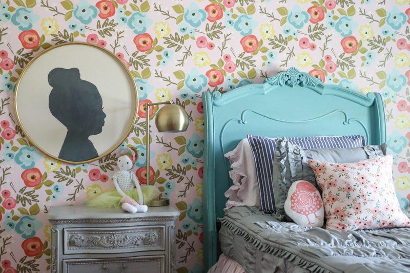 Lenas Bedroom Makeover Floral Wallpaper