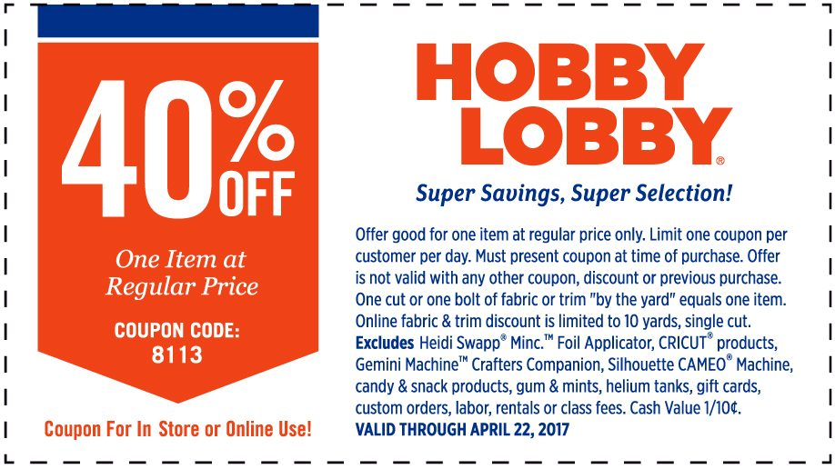 Hobby lobby in store coupon code