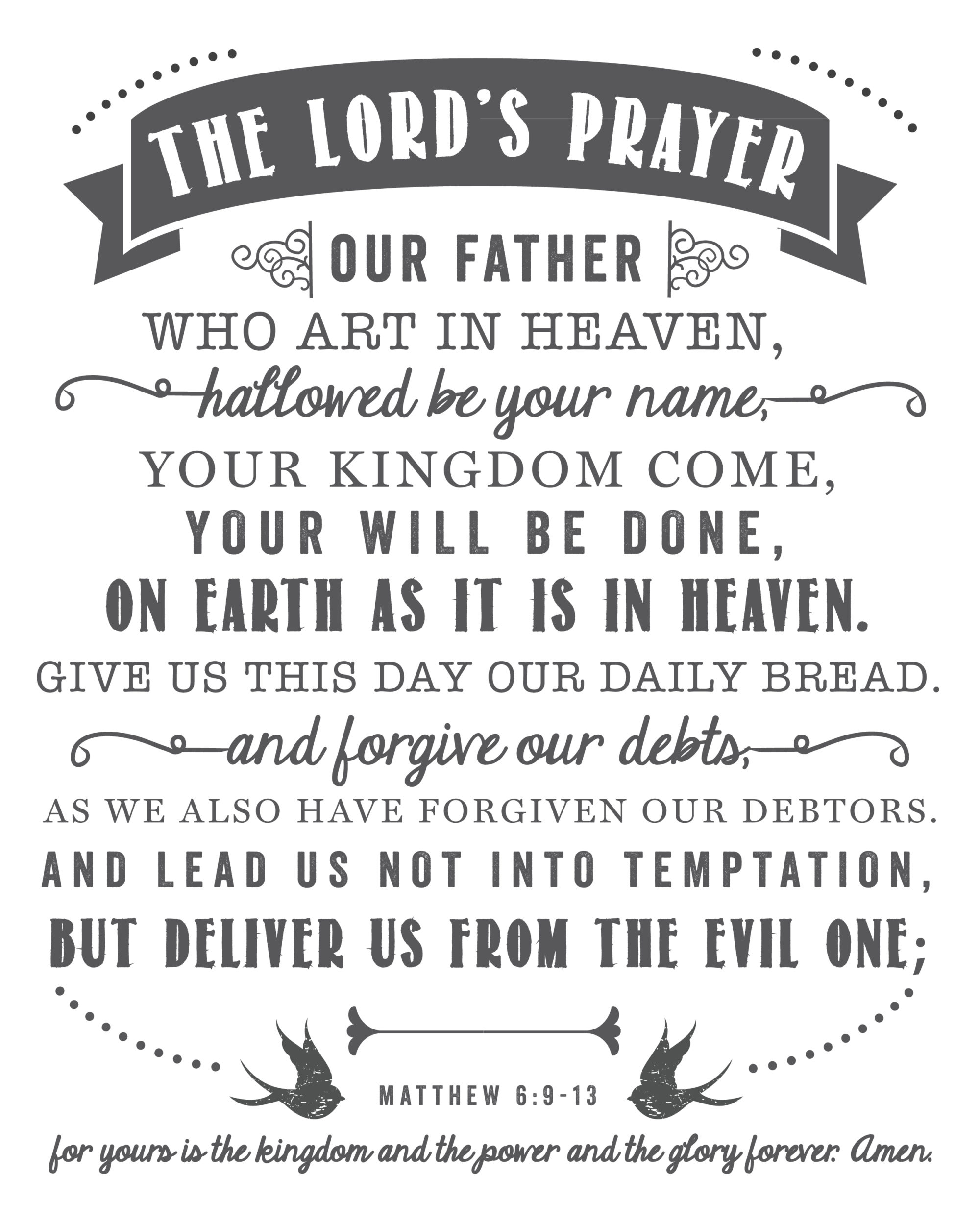 This is a graphic of Priceless The Lord's Prayer Printable