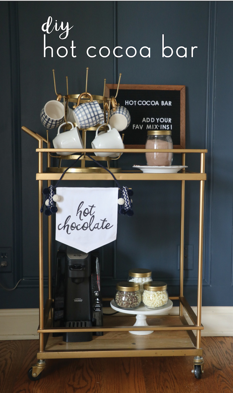 This is such a cute and easy way to create a hot cocoa beverage bar! Includes several easy DIY projects.