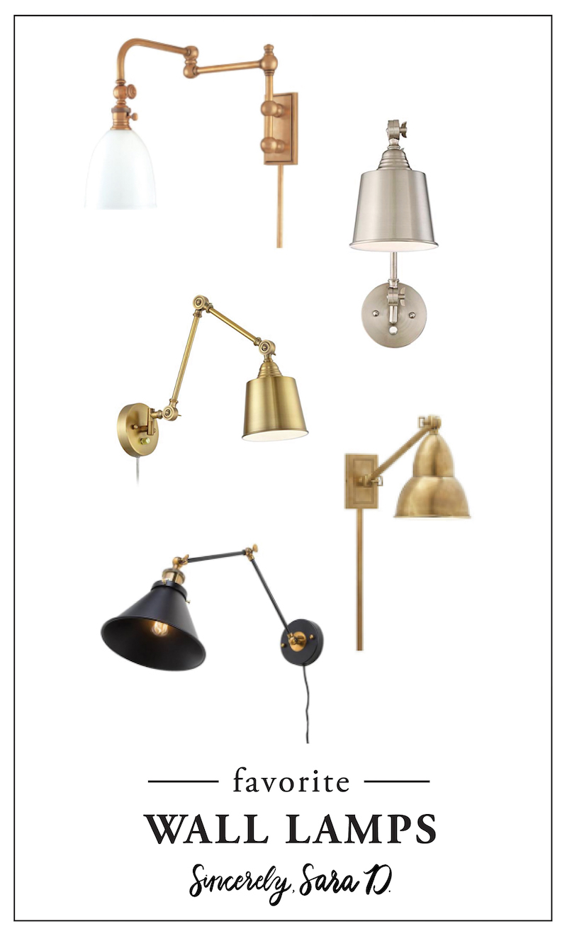 Favorite Wall Lamps | Wall lamps are great for decorating and require NO electrical work! These are some of the best wall lamps via Sincerely, Sara D.