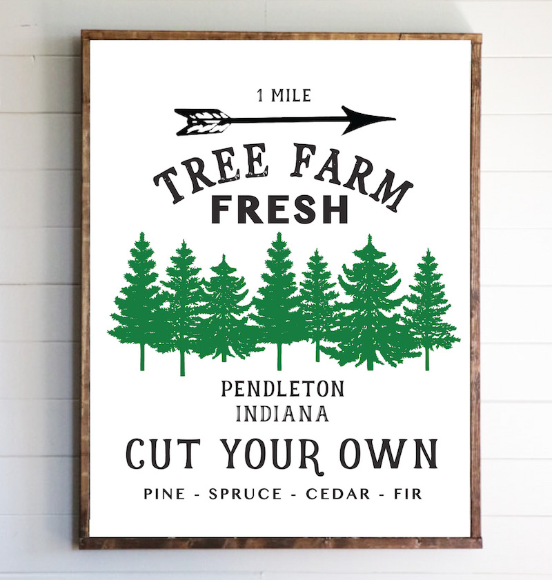 photograph relating to Printable Christmas Tree Pictures referred to as Totally free Editable Xmas Tree Farm Indication - Sincerely, Sara D.